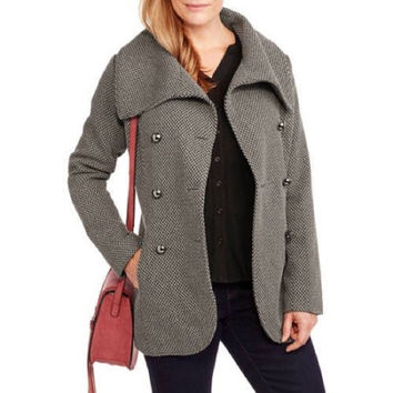 Maxwell Studio Women's Tulip Faux Wool Double-Breasted Peacoat, Herringbone, 1X