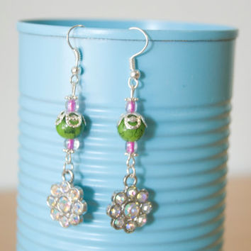 Handmade Silver Plated Hypo-Allergenic Dangle Bead Earrings Lime Green Pink Flowers Charms Unique Hippie Love