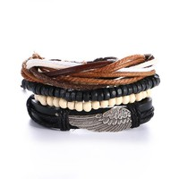 4 Piece Boho Vintage Braided Adjustable Leather Handmade Bracelets - 6 Variations