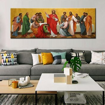 Classic Posters and Prints Wall Art Canvas Painting Jesus Teaches with His Disciples Wall Pictures for Living Room Home Decor