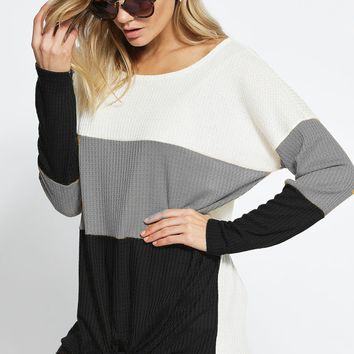 Color Block Thermal Waffle Knit Top with Front Tie - H.Grey/Ivory/Black
