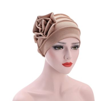 6 Color Women Side Flower Headwear Headwrap African Head wrap Twist Hair Band Turban Bandana Bandage Hijab Accessories India Cap