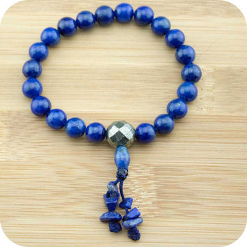 Lapis Lazuli Buddhist Mala Bracelet with Faceted Pyrite
