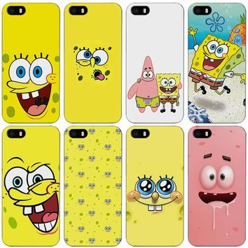 SpongeBob Black Plastic Case Cover Shell for iPhone Apple 4 4s 5 5s SE 5c 6 6s 7 Plus