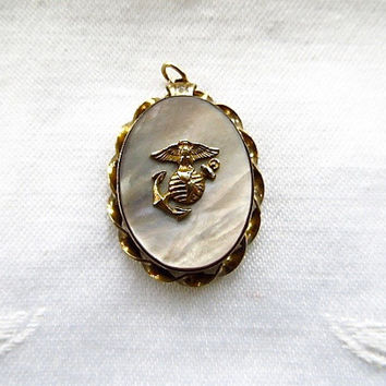 US Marine Corps Locket Pendant Mother of Pearl Gold Filled on Sterling Globe Anchor Eagle