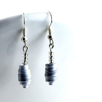 Handmade #makeforgood Paper Bead Earrings White and Silver Striped Pastel Tones Recycled Jewellery