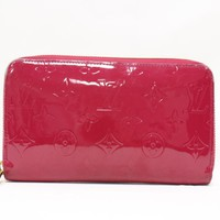 Authentic LOUIS VUITTON Zippy Wallet Round Wallet Purse M91597 Vernis Pink Used