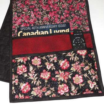 Quilted Armchair Caddy, Bedside Caddy, Black and Brick Red Floral