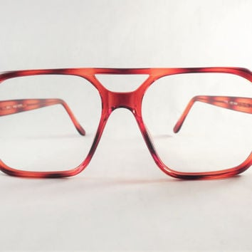 Mens Red Brown Eyeglasses, Retro Frames, Tortoise Shell Square Aviator Glasses, NOS Glasses
