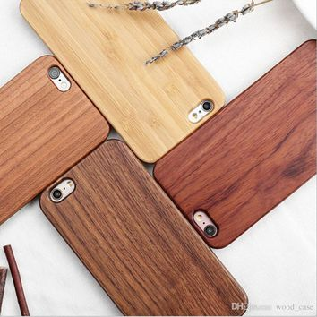 Customized Engraving Wood Phone Case For Iphone 7 Cover Nature Carved Wooden Bamboo Cases For Iphone 6 6s 7 plus Samsung S7 S8 S6 edge
