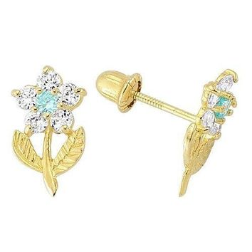 14K Yellow Gold Birthstone Flower Stud Earrings for Baby and Children Screw Back