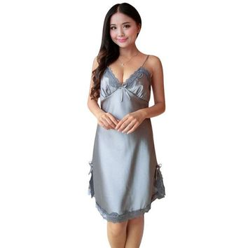 DCCKL3Z Sexy Women Silk Satin Night Dress Sleeveless Nightgown Nightdress Lace Sleepwear Nightwear