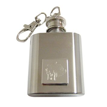 Silver Toned Etched Horse Head 1 Oz. Stainless Steel Key Chain Flask