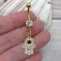 Gold hamsa belly button ring , hamsa hand charm, navel piercing, belly button ring jewelry,unique gift