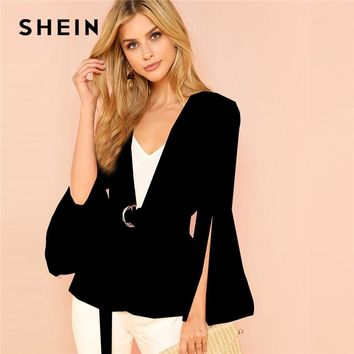 SHEIN Black Office Lady Elegant Split Sleeve Belted Solid Fashion Blazer 2018 Autumn Highstreet Women Coat Outerwear