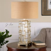 Coburn Amber Glass Table Lamp