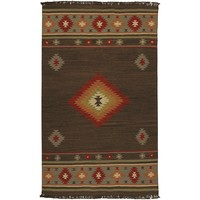 Hand-woven Brown Southwestern Aztec Jewel Tone Wool Rug (2' x 3')