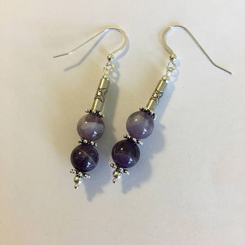 Purple Amethyst Earrings Handmade Banded Amethyst and Sterling Silver Jewelry Purple and White Beaded Drop Earrings Lavender Gemstone Gift