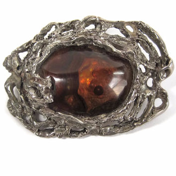 Vintage Sterling Brutalist Mexican Fire Agate Opal Brooch