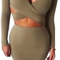 Not Over Yet Olive Green Beige Long Sleeve Cross Wrap Plunge V Neck Cut Out Crop Bodycon Bandage Two Piece Midi Dress