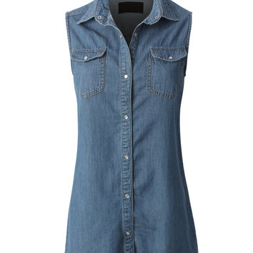 LE3NO Womens Loose Fit Sleeveless Chambray Jean Denim Shirt Dress with Pockets