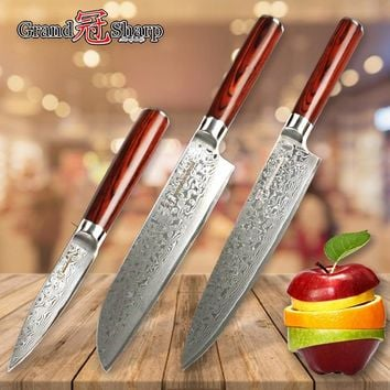 Kitchen Knives Sets 3 pcs Japanese Damascus Steel Chef Knife Set Santoku Paring Slicing Cleaver Cooking Tools Gift Credit Card