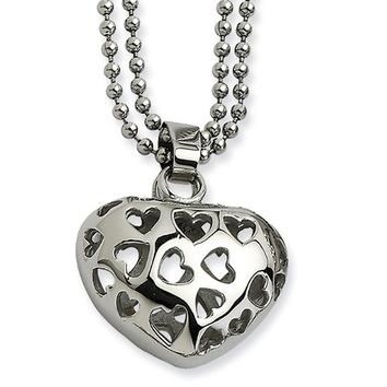 Stainless Steel Puffed Heart Double Delight Necklace - 22 Inch