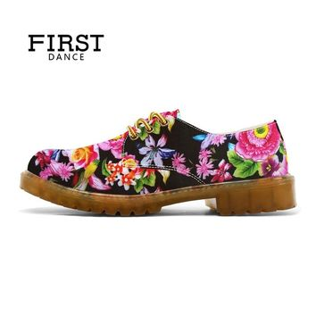 FIRST DANCE Women Oxfords Dr Matrins Girl Casual Shoes Female Leisure Shoes For Women Flats Oxford Custom 3D Prints Black Shoes