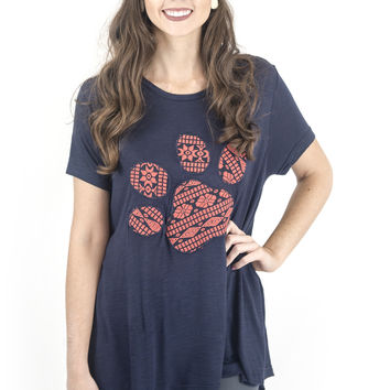 Women's Top-Judith March-Flowy Tee with Jacquard Paw Print Applique Navy