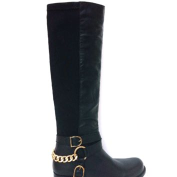 Betsey Johnson – Bikerr Elastic Back Riding Boots In Black Leather/ Black Fabric | Thirteen Vintage