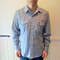 Vintage Blue Plaid Wrangler Long Sleeve Western by WylieOwlVintage