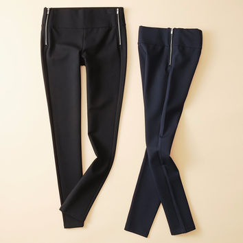 2017 brand new women's fashion navy black 2 colors ankle length leggings elastic waist casual trousers wide pants with zippers