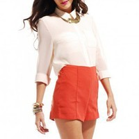 High Waisted Pintucked Shorts