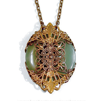Green Aventurine Neo Victorian Gothic Antique Brass Medallion Necklace - Natural Stone Donut Filigree Wrapped Pendant - Vintage Style