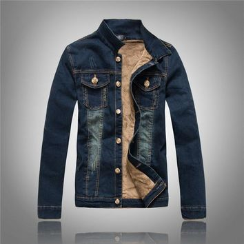 Denim jacket Male winter fashion Slim thick  plus velvet cowboy hat demolition Menswear Plus Size M L XL 204E