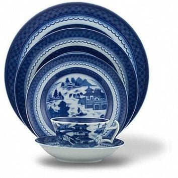 Blue Canton Dinnerware Collection by MOTTAHEDEH  sc 1 st  Wanelo & Best Blue Dinner Plate Sets Products on Wanelo
