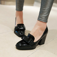 Bowtie Pumps Patent Leather High Heels Thick Heeled Shoes Woman