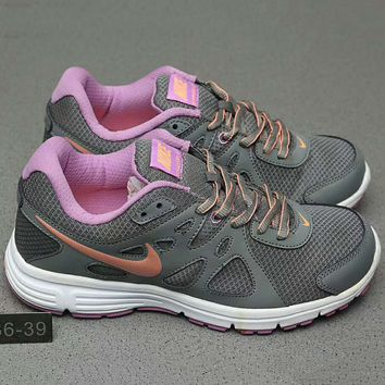 Nike REVOLUTION 2 MSL Women Casual Running Sport Shoes Sneakers Grey+Purple G-A0-HXYDXPF