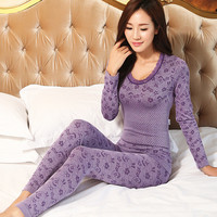 2016 spring sleepwear women pajamas sets o-neck jacquard long pajama suit floral bodycon women thermal underwear suit soft