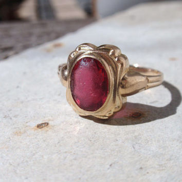 10k Art Deco Ring red stone 10k ruby BDA ladies