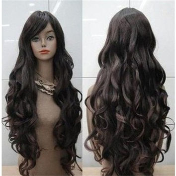 Hot Sale Pretty Long Dark Brown Curly Women Cosplay Hair Full Wigs (Color: Dark brown) [8833417868]