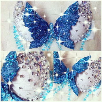 Blue Butterfly Rave Bra