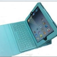 light blue Bluetooth Keyboard with Leather Case for Apple iPad 2/3 the New iPad