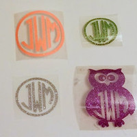 Monogram Initials GLITTER Heat Transfer 6 Sizes I cut it/You Iron it on! FREE SH