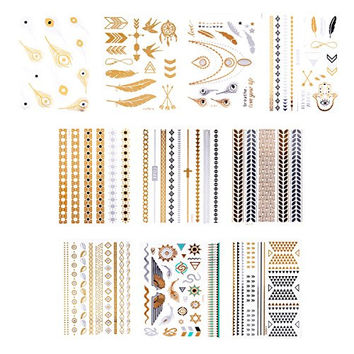 10 Sheets Premium Metallic Tattoo Over 100 Shimmer Designs Body Temporary Flash Metallic Fake Jewelry Tattoos Necklaces Bracelets Feathers Wrist Arm Bands Infinity Love More By Zhenhui (Black)