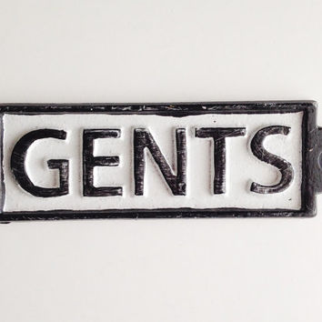 Gents Sign, Antique Style Bathoom, Cast Iron Plaque, Bar Sign, Gift for Him