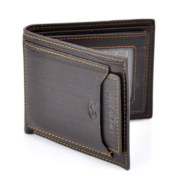 Men Leather Wallet Pockets Purse Clutch Bi-fold, Black/Dark Brown = 1705632260