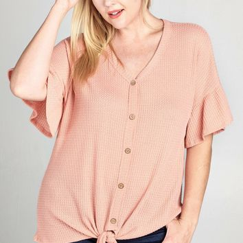 Beverly Knot Top | Pink  | Plus