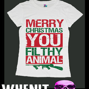 Merry Christmas You Ya Filthy Animal exclusive hand print women t shirt 20423