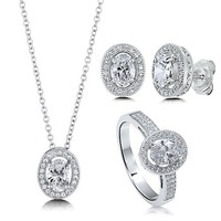 Oval Cut Clear Cubic Zirconia CZ 925 Sterling Silver Halo Pendant Necklace Stud Earrings And Ring Matching 3 Pc Set #vs122